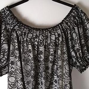 Top, Black Lace Top, Size M